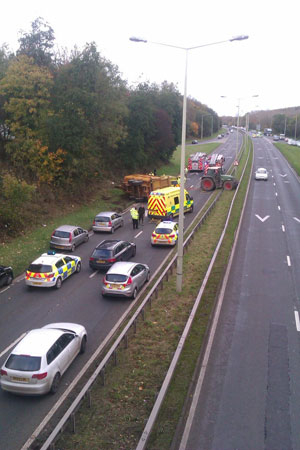 A recent accident on the A442 at Stirchley, Telford