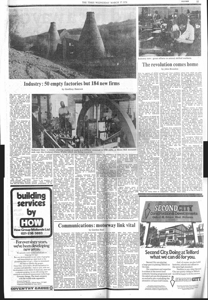 1976: Telford in The Times.  Click pic to read the paper.
