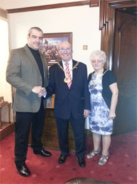 Mark Burrows, of Kitchens by R&R with Mayor, Councillor Dennis Anson and Mayoress Kathleen Anson.