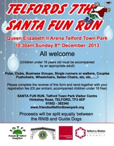 7th Telford Santa Fun Run  @ Queen Elizabeth II Arena, Telford Town Park