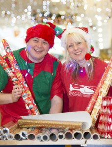 Stormfront manager, Martin Stanton, and Maria Jones, Fundraising Manager at Midlands Air Ambulance, at the Telford Shopping Centre Charity Gift Wrapt
