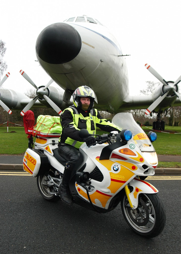 Clive Bower on a specially equipped Blood Bike at RAF Museum Cosford, the venue for the official launch of Shropshire and Staffordshire Blood Bikes on 22 January.