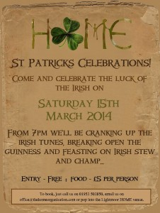 HOME - St. Patricks Celebrations! @ HOME Coffee House  | Lightmoor | England | United Kingdom