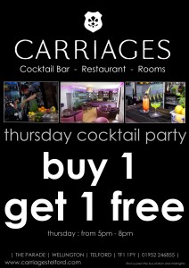 Carriages Cocktail Party - Buy 1 Get 1 Free - Every Thursday @ Carriages Cocktail Bar | Wellington | United Kingdom