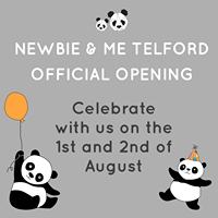 "Image may contain: text that says ""NEWBIE & ME TELFORD OFFICIAL OPENING Celebrate with US on the 1st and 2nd of August"""