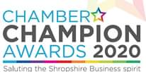 "Image may contain: text that says ""CHAMBERA CHAMPION AWARDS 2020 Saluting the Shropshire Business spirit"""
