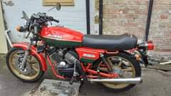 """Image may contain: motorcycle, text that says """"MORINI 250 CLARK- DRAIN"""""""