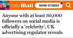 "Image may contain: text that says ""Daily mail MORE STORIES Anyone with at least 30,000 followers on social media is officially a 'celebrity', UK advertising regulator reveals"""